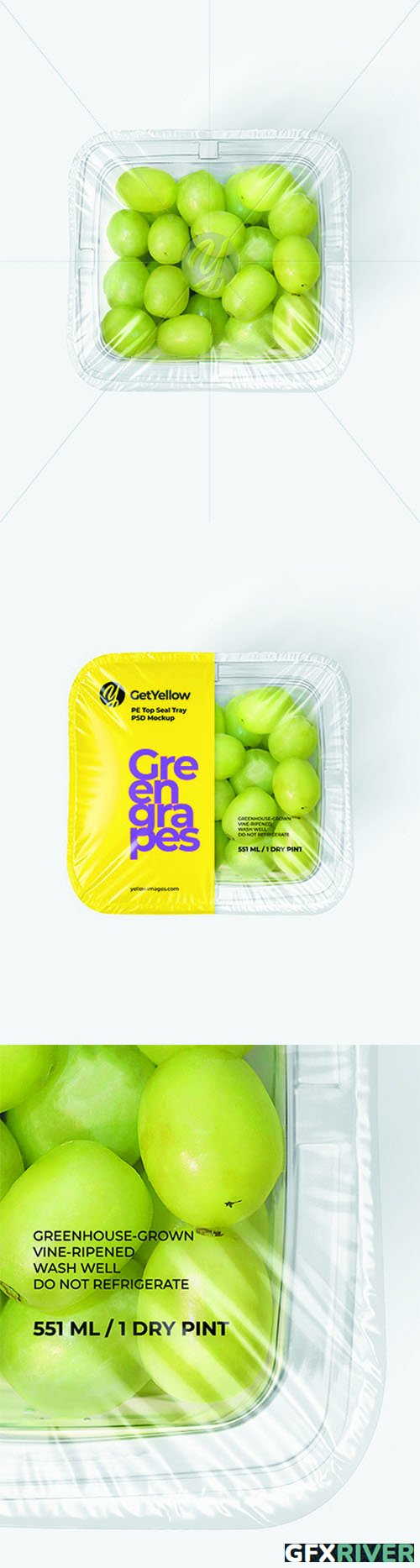 Clear Plastic Tray with Green Grapes Mockup 68893 TIF