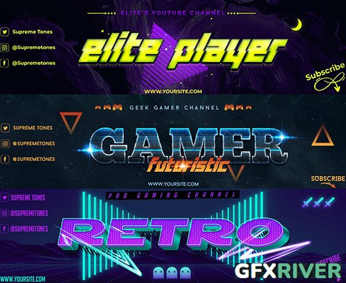 3 Youtube Banners - Gaming Channel Art V1