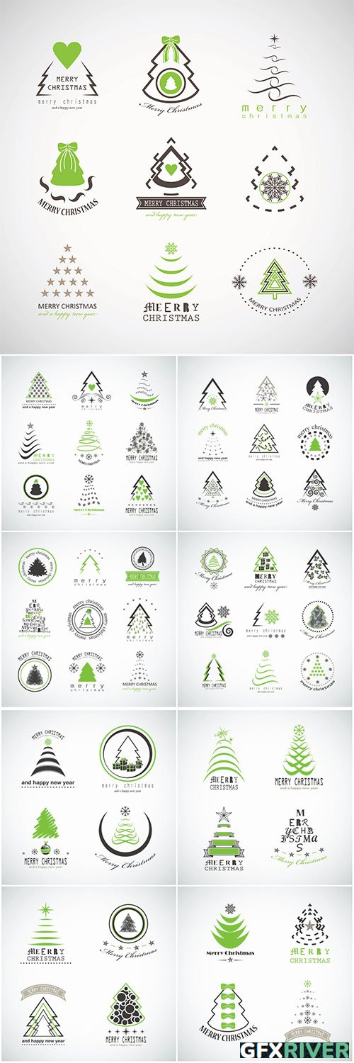 Abstract Christmas Tree Icons