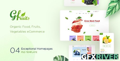 GFruits – Organic Food/Fruit/Vegetables eCommerce PSD Template 22783560