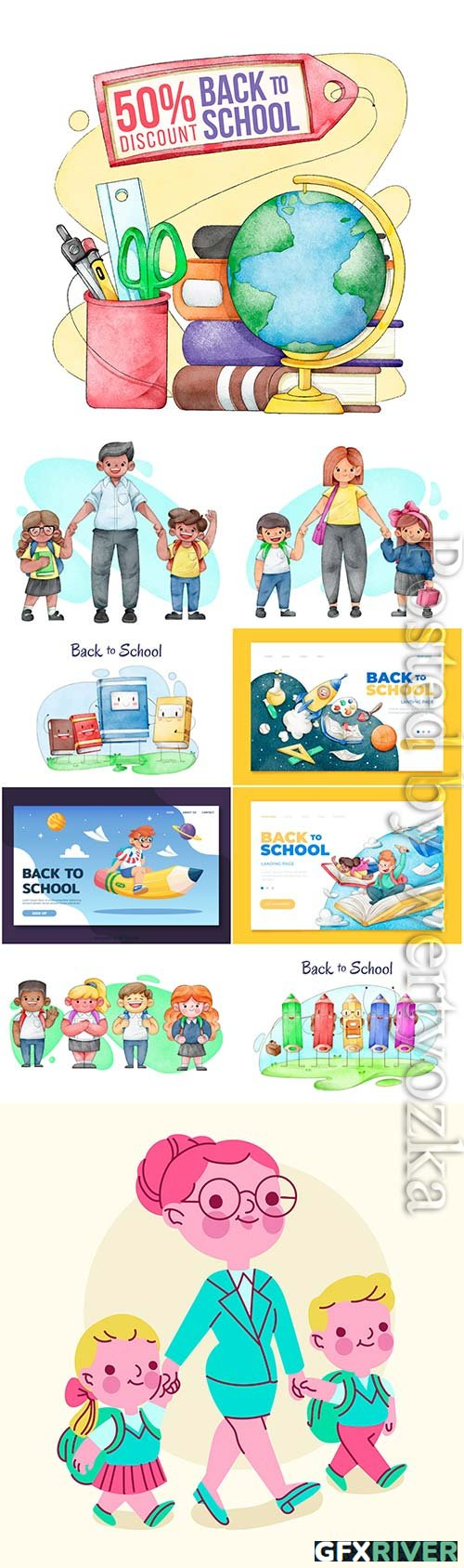 Watercolor back to school vector template design
