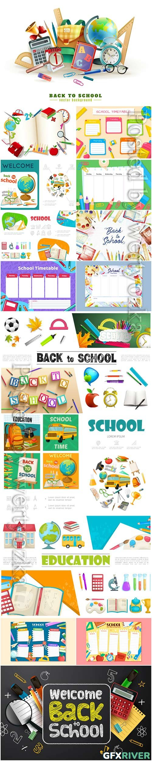 School set and stationery vector illustration