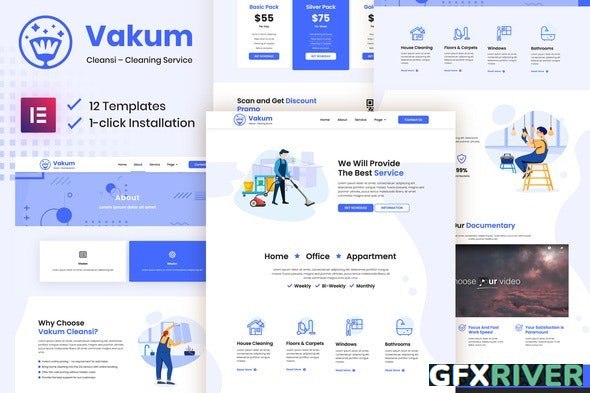 ThemeForest - Vakum v3.0.11 - Cleaning Service Elementor Template Kit - 29926401