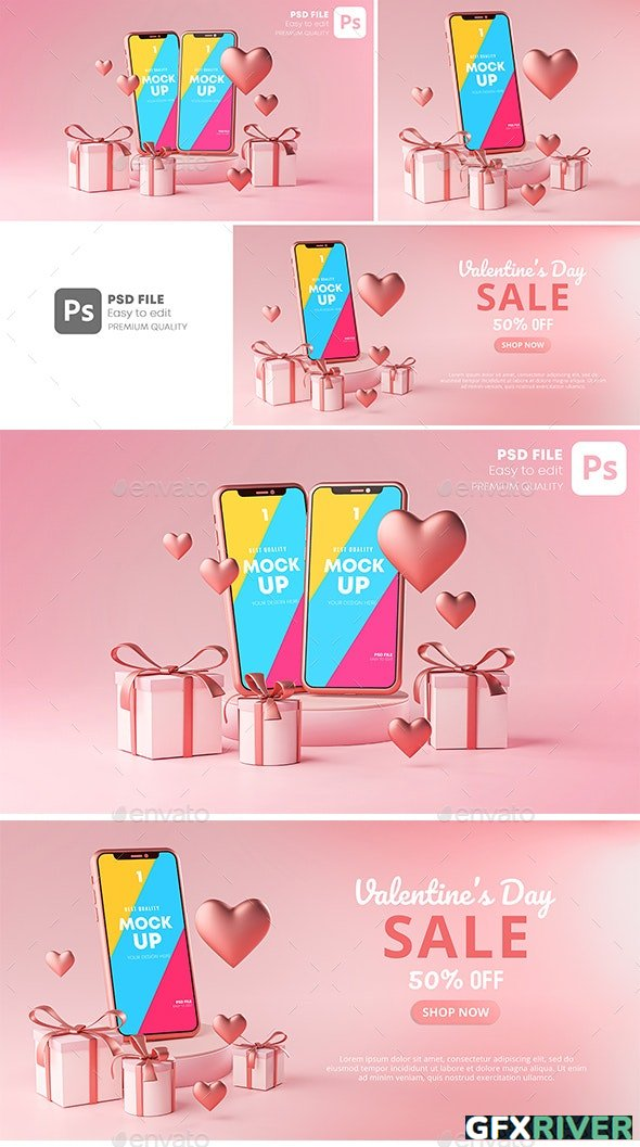 GraphicRiver - Smartphone Mockup Valentine Day Sale Love Heart Shape and Gift Box 3D Rendering - 30090503