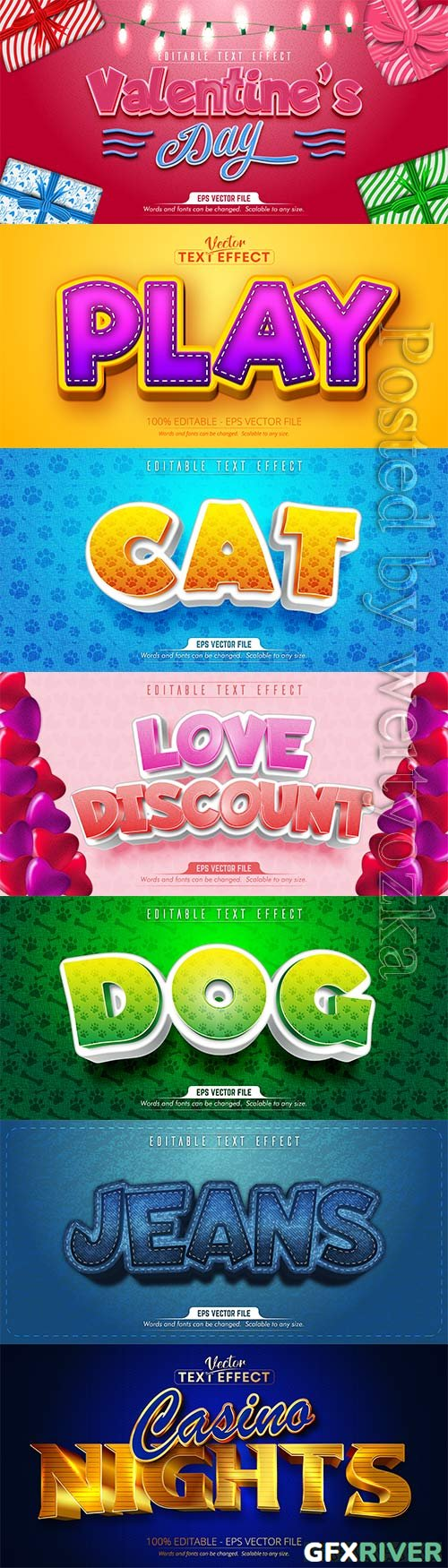 3d editable text style effect vector vol 212