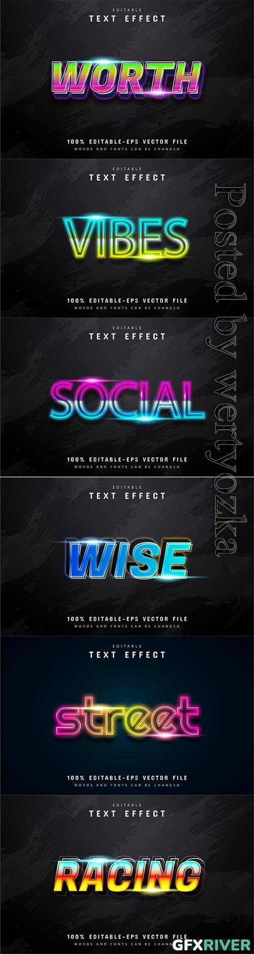 3d editable text style effect vector vol 211