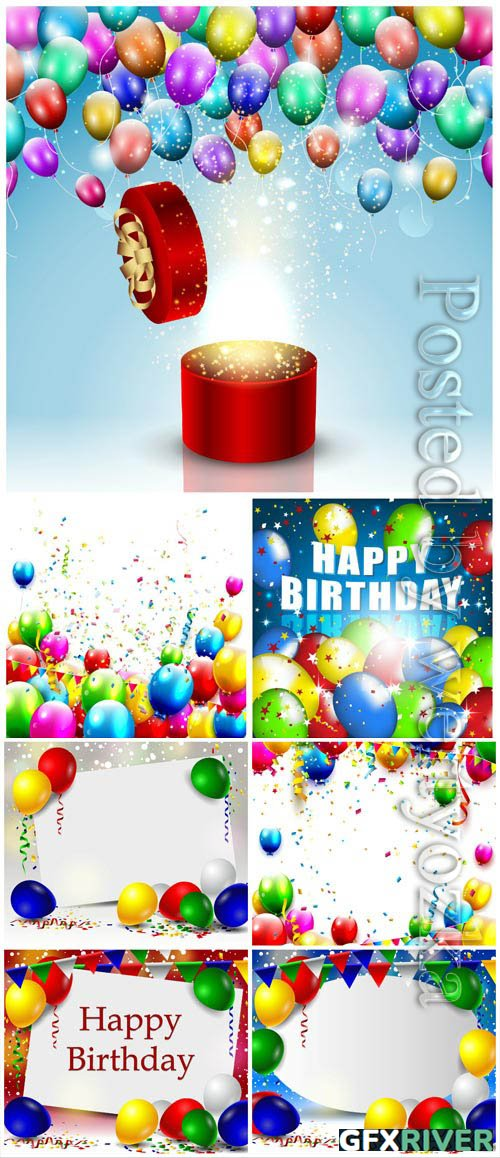 Festive backgrounds with balloons, birthday in vector